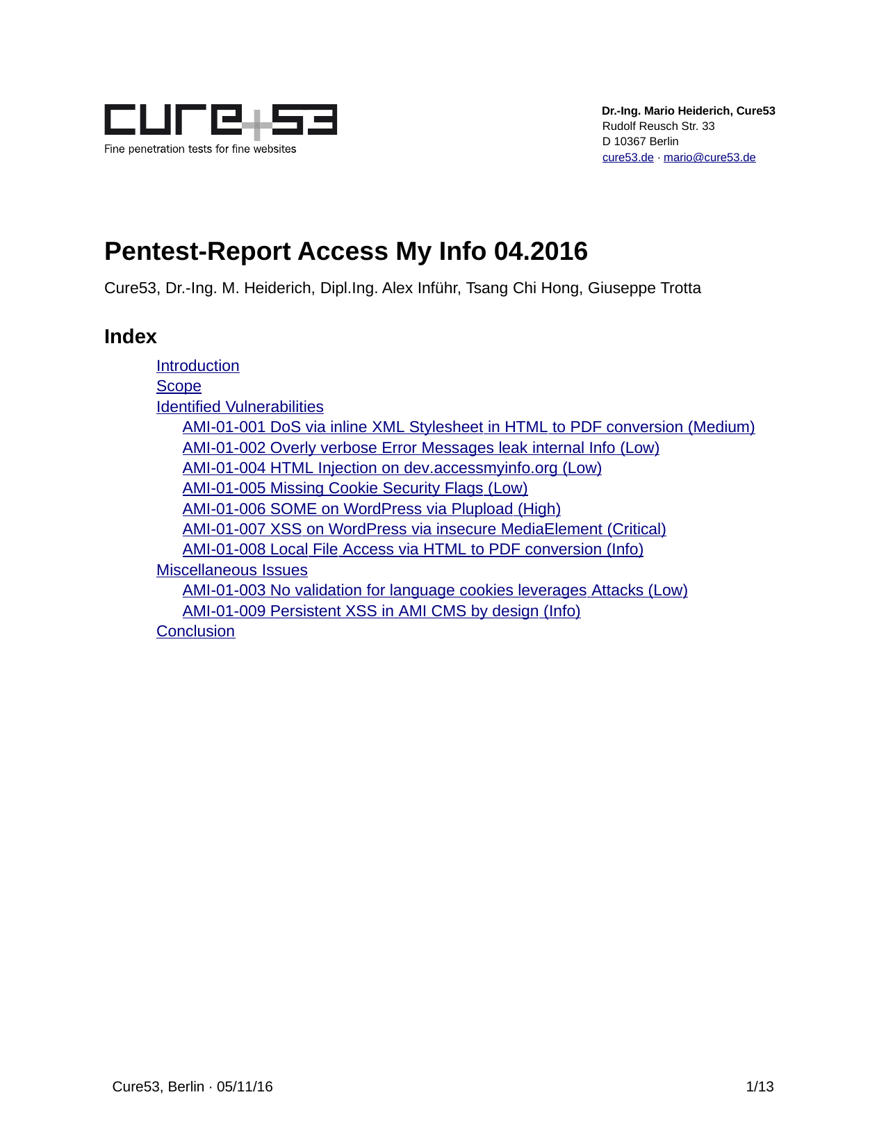 First page of the 'pentest-report accessmyinfo' PDF