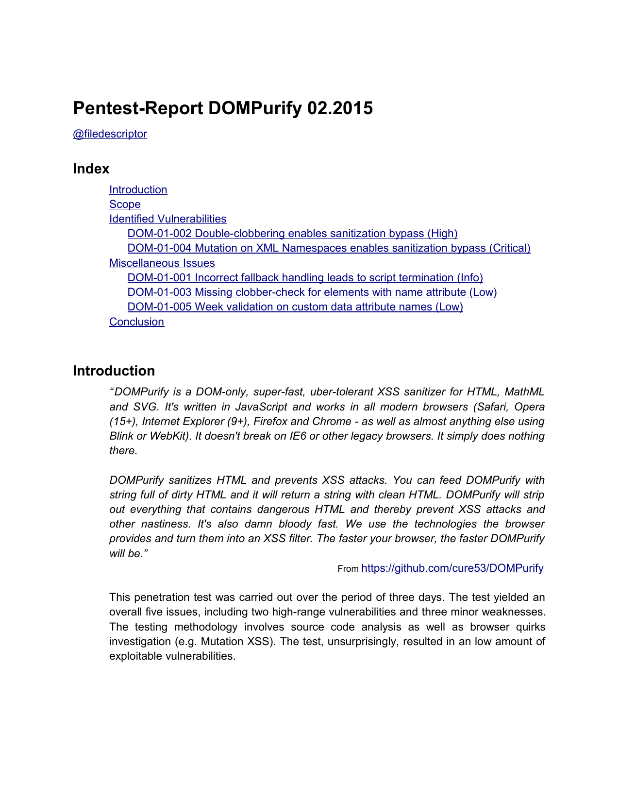 First page of the 'pentest-report dompurify' PDF