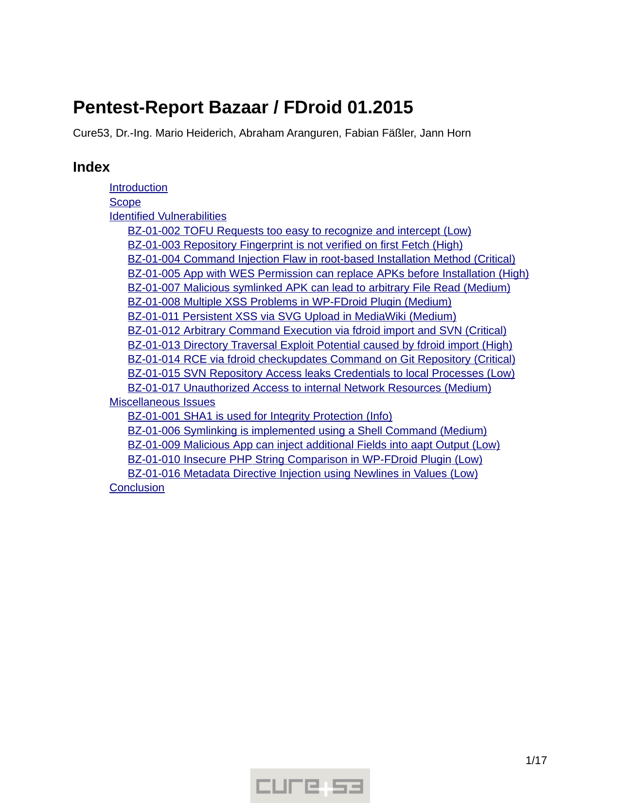First page of the 'pentest-report fdroid' PDF