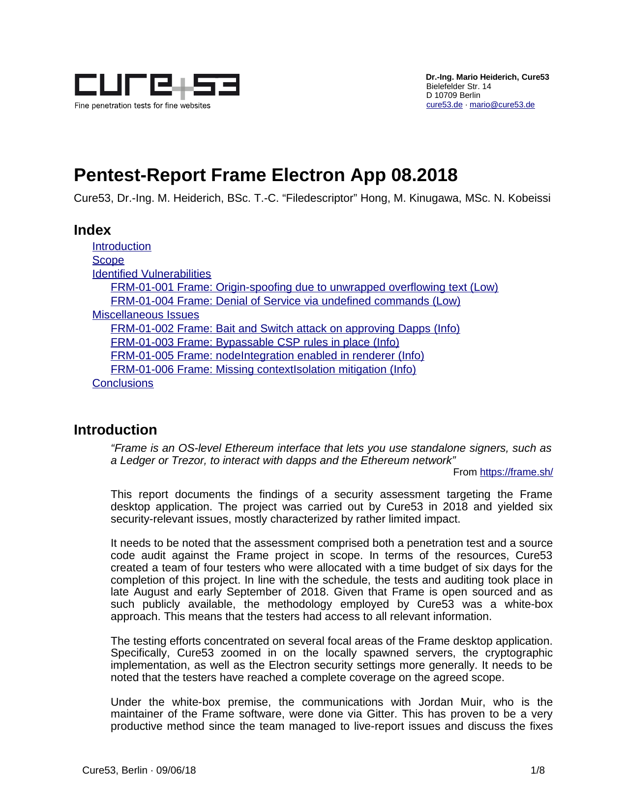 First page of the 'pentest-report frame' PDF