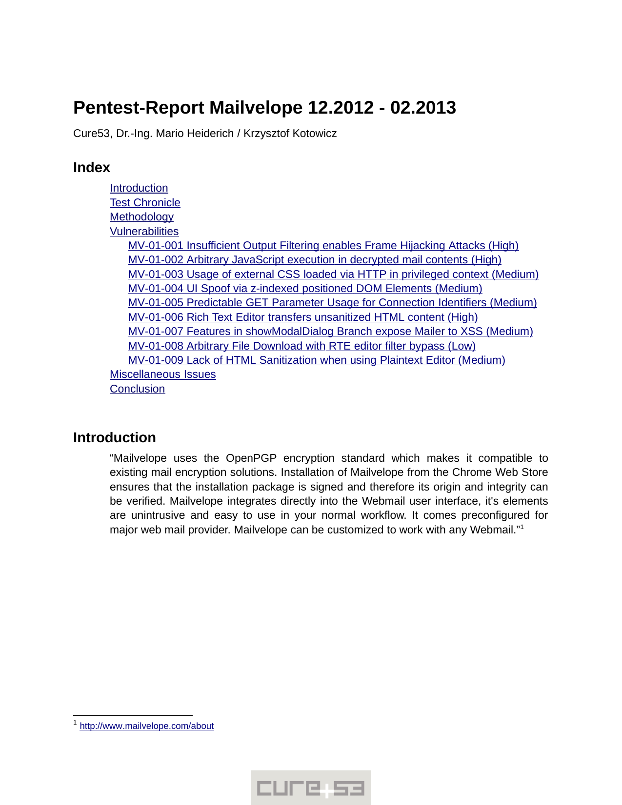 First page of the 'pentest-report mailvelope' PDF