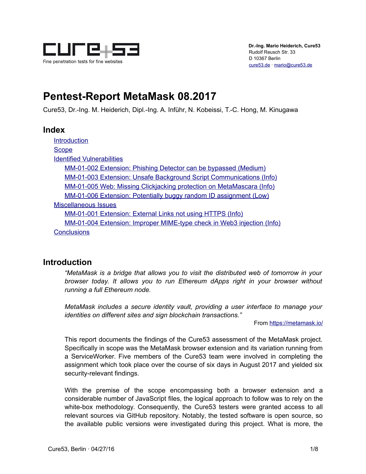First page of the 'pentest-report metamask' PDF