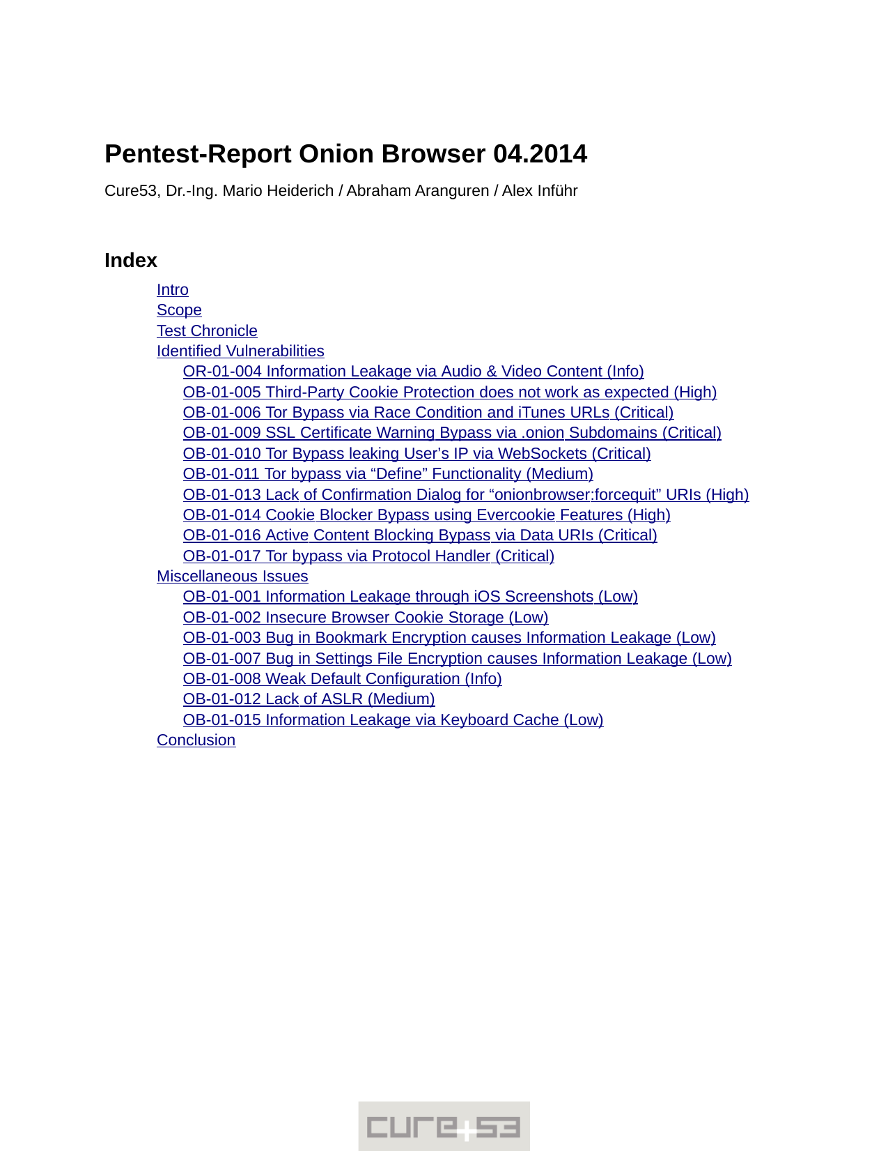 First page of the 'pentest-report onion-browser' PDF