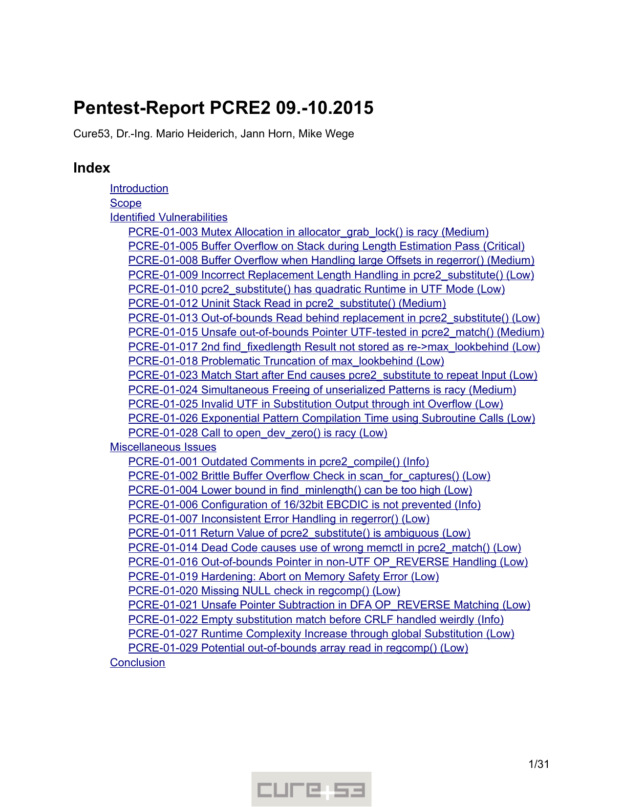 First page of the 'pentest-report pcre' PDF