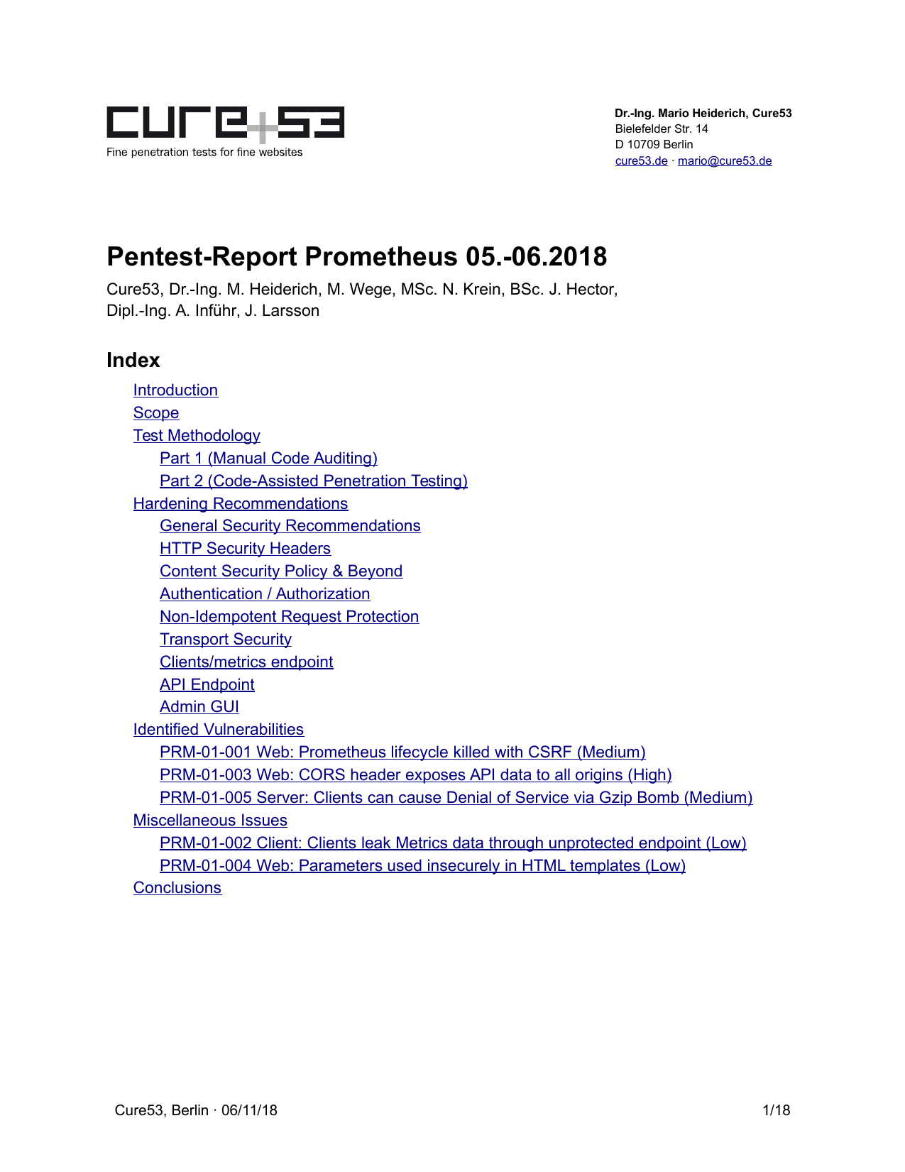 First page of the 'pentest-report prometheus' PDF