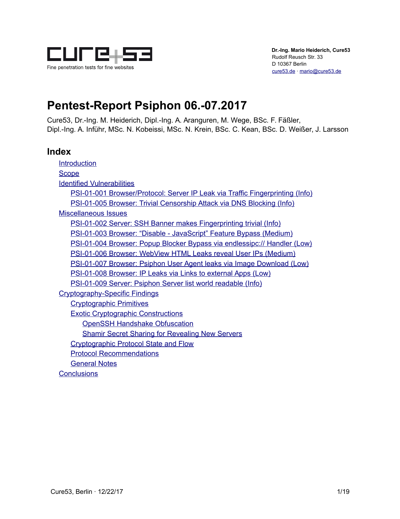 First page of the 'pentest-report psiphon' PDF