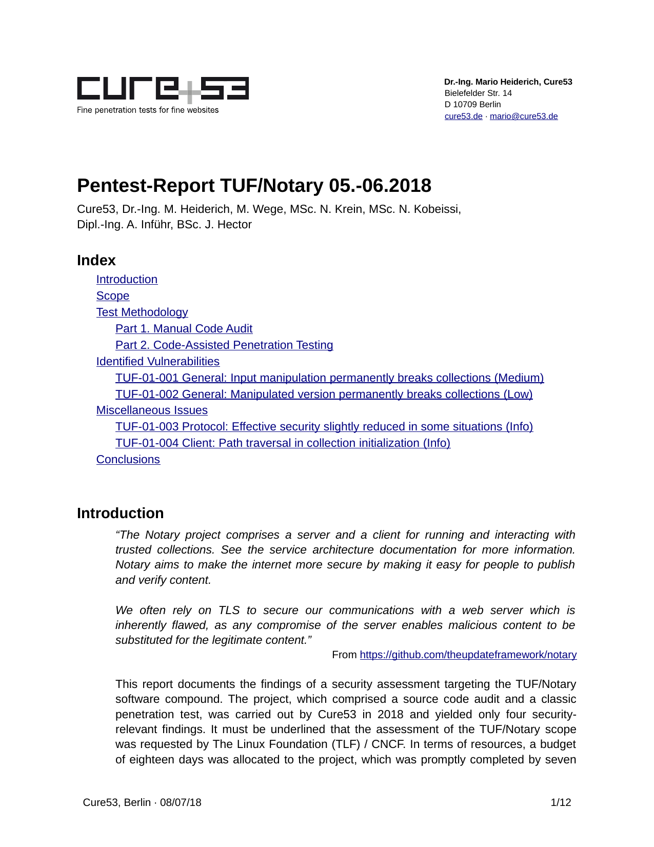 First page of the 'pentest-report tuf' PDF