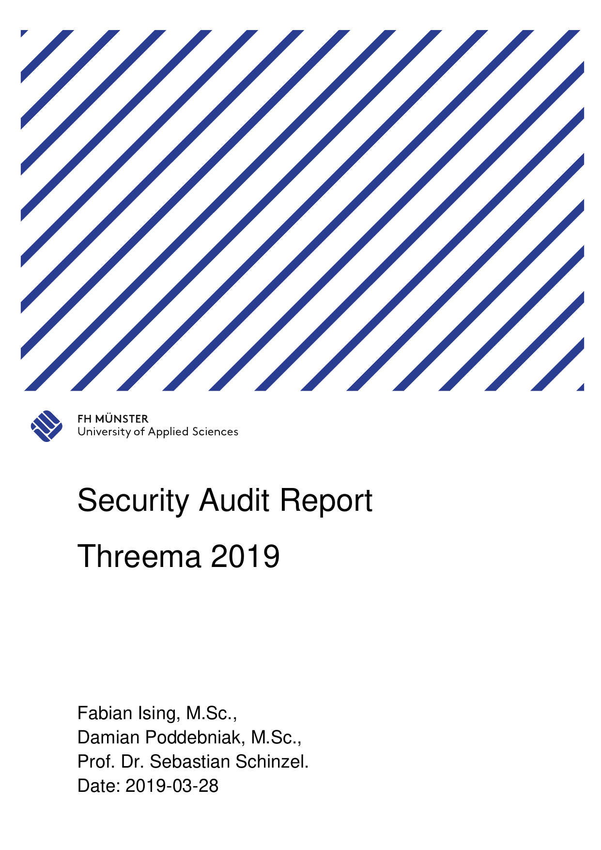 First page of the 'security audit report threema 2019' PDF