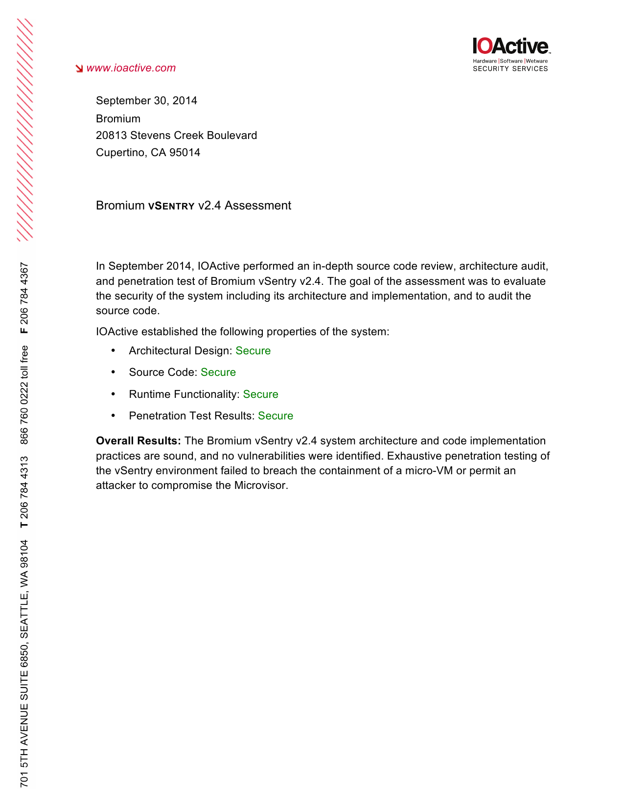 First page of the 'ioactive-bromium-test-report-final' PDF