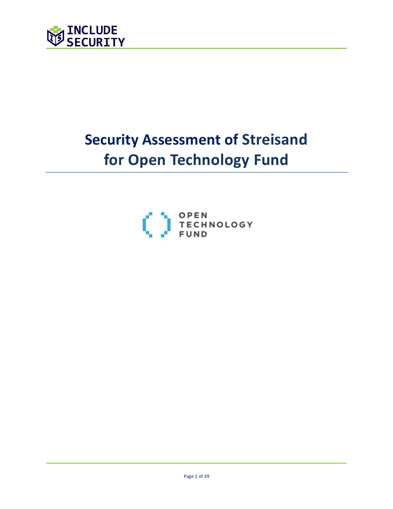 First page of the 'Streisand security config review' PDF