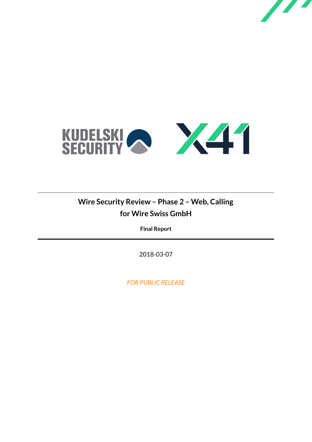 First page of the 'X41-Kudelski-Wire-Security-Review-Web-Calling' PDF