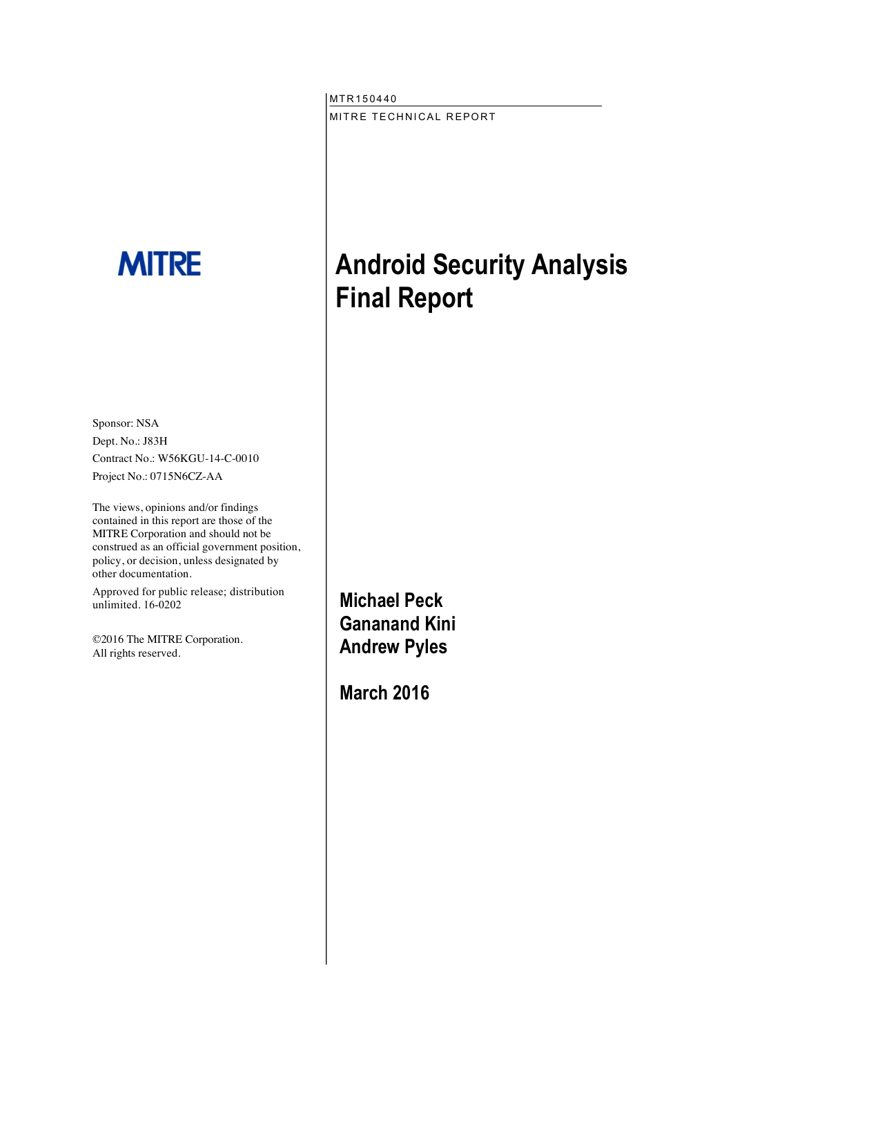First page of the 'pr-16-0202-android-security-analysis-final-report' PDF