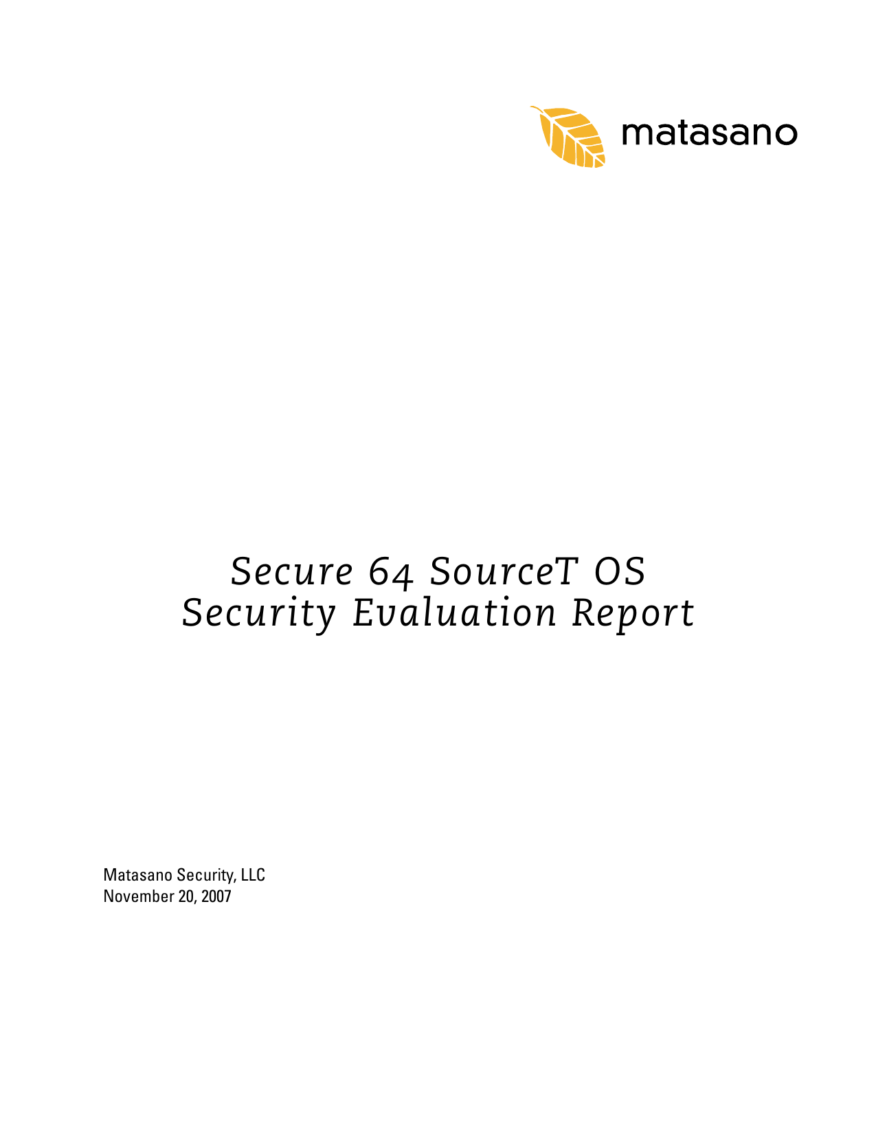 First page of the 'Matasano SourceT Security Evaluation Report' PDF