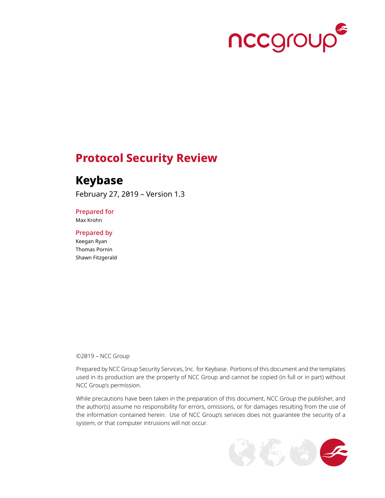 First page of the 'NCC Group Keybase KB2018 Public Report 2019-02-27 v1.3' PDF