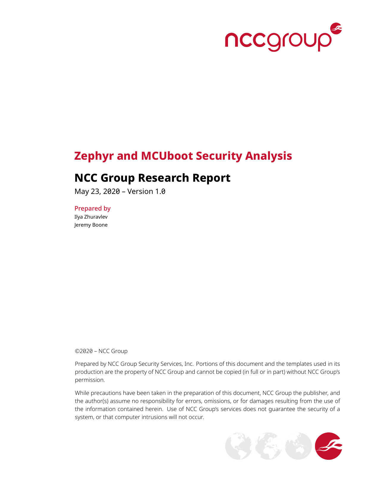 First page of the 'NCC Group Zephyr MCUboot Research Report 2020-05-26 v1.0' PDF