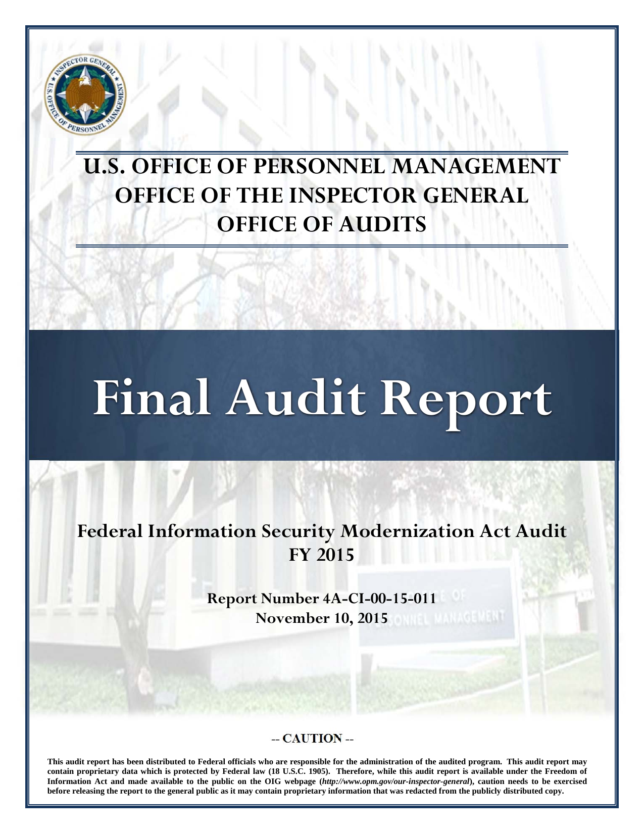 First page of the 'OPM-OIG - US Office of Personnel Management' PDF