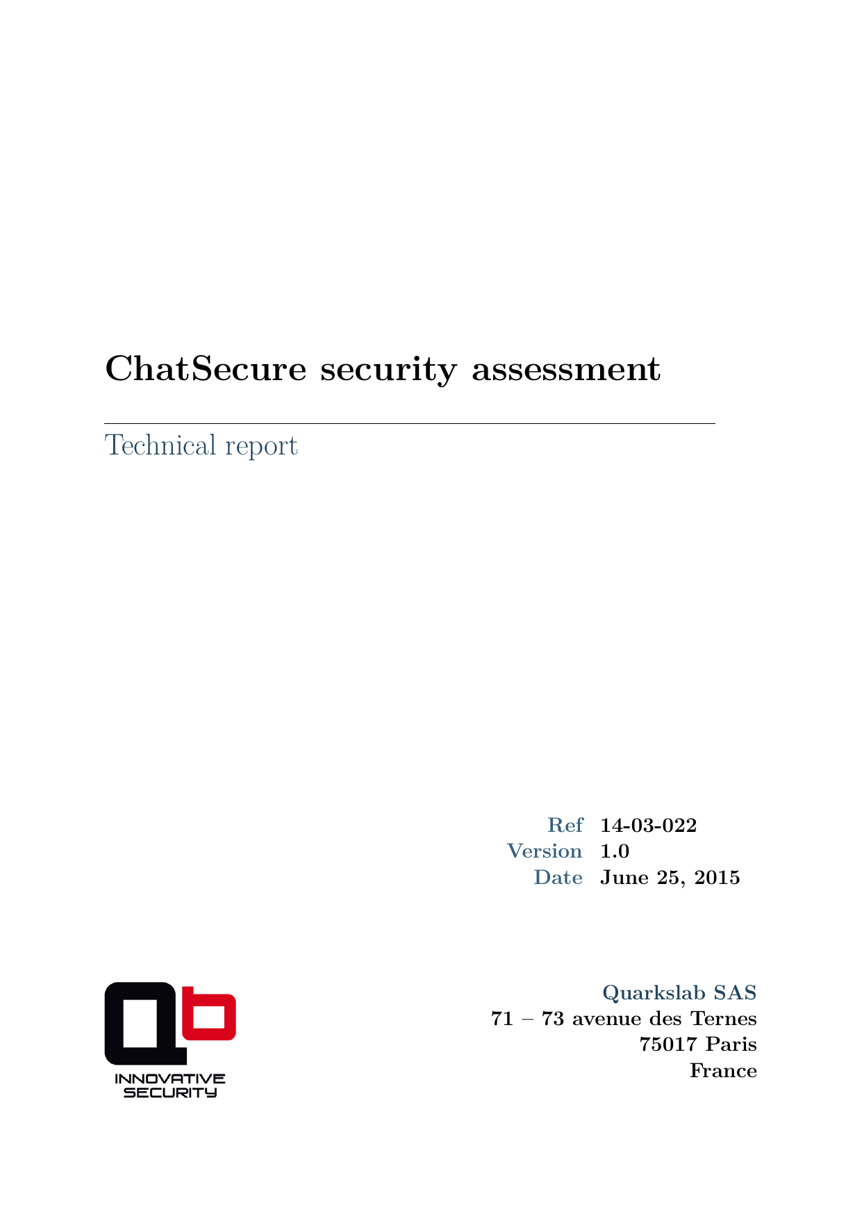 First page of the '14-03-022 ChatSecure-sec-assessment' PDF