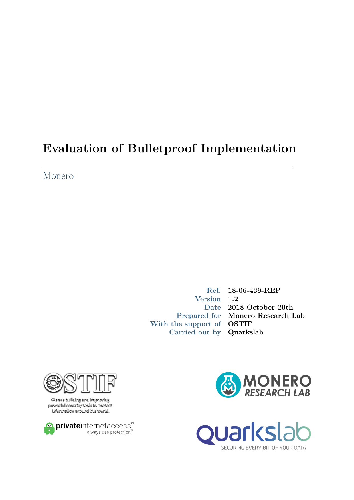First page of the 'OSTIF-QuarksLab-Monero-Bulletproofs-Final2' PDF