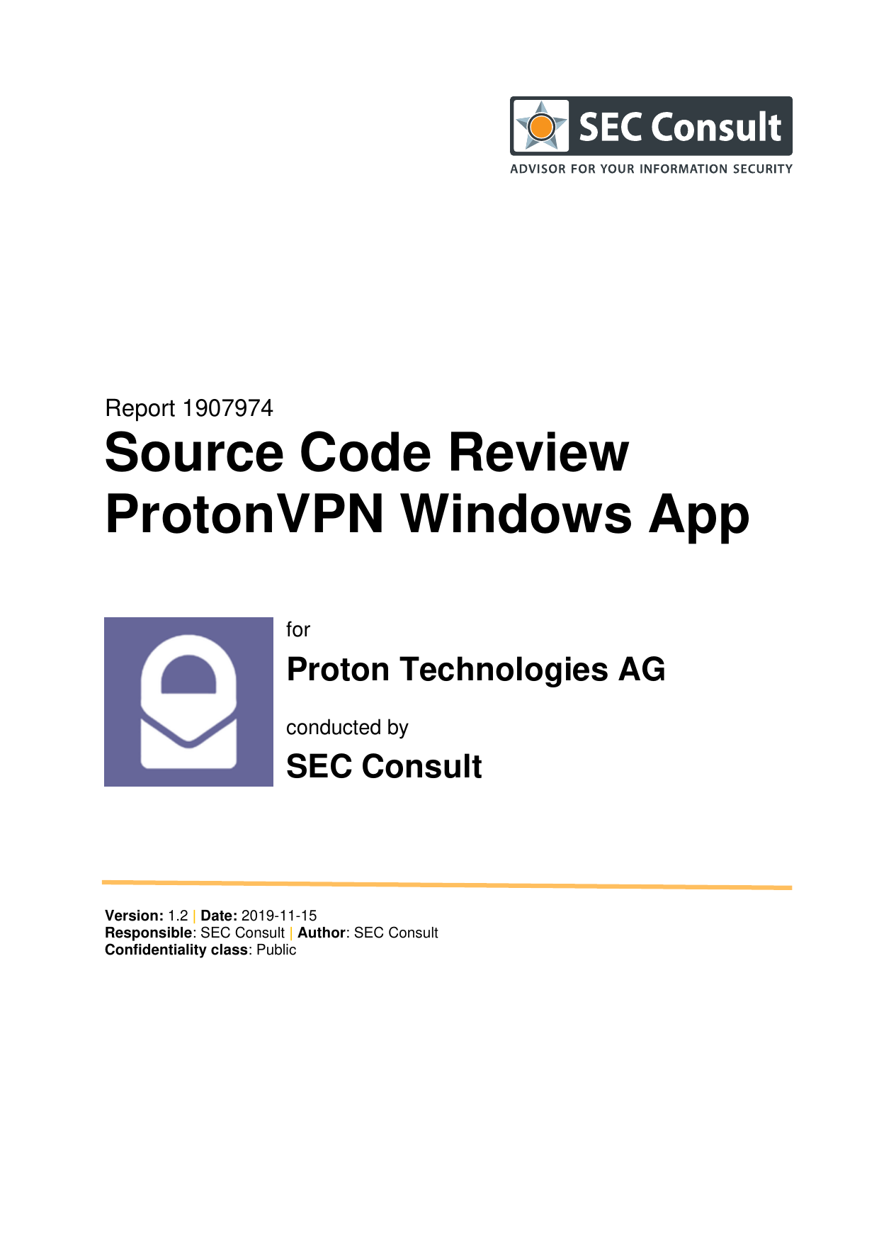 First page of the 'ProtonVPN-Windows-app-audit-report-2020' PDF