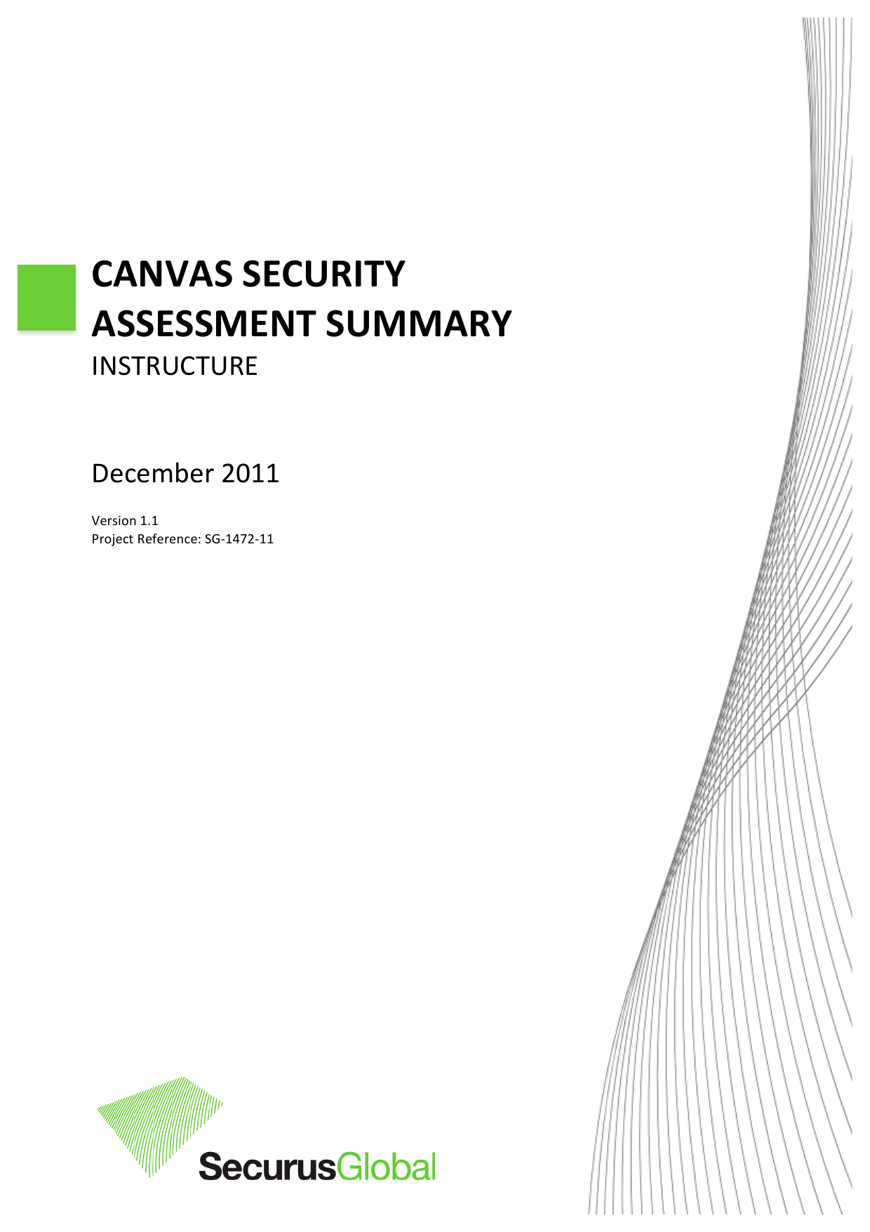 First page of the 'Instructure Canvas Security Summary 2011' PDF