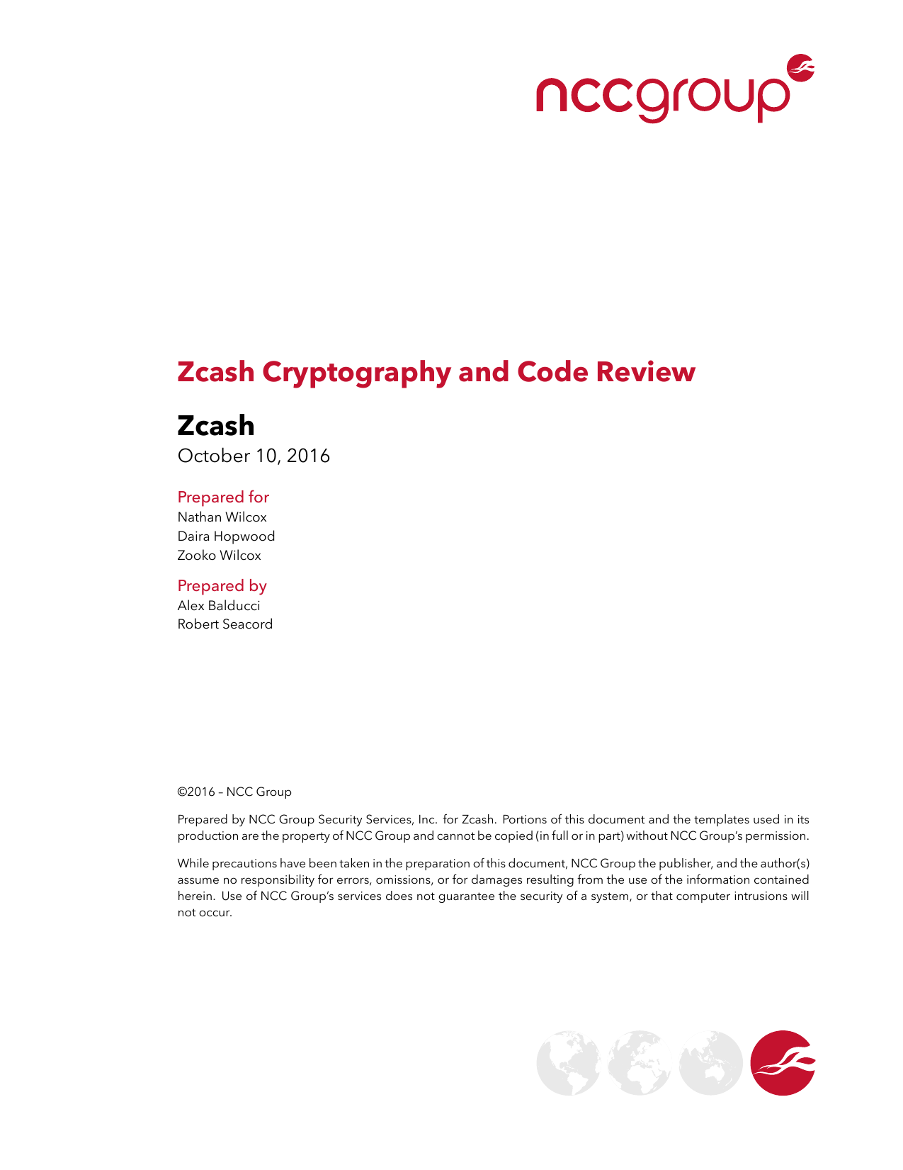First page of the 'NCC Group Zcash Crypto Report 2016 -10-10' PDF