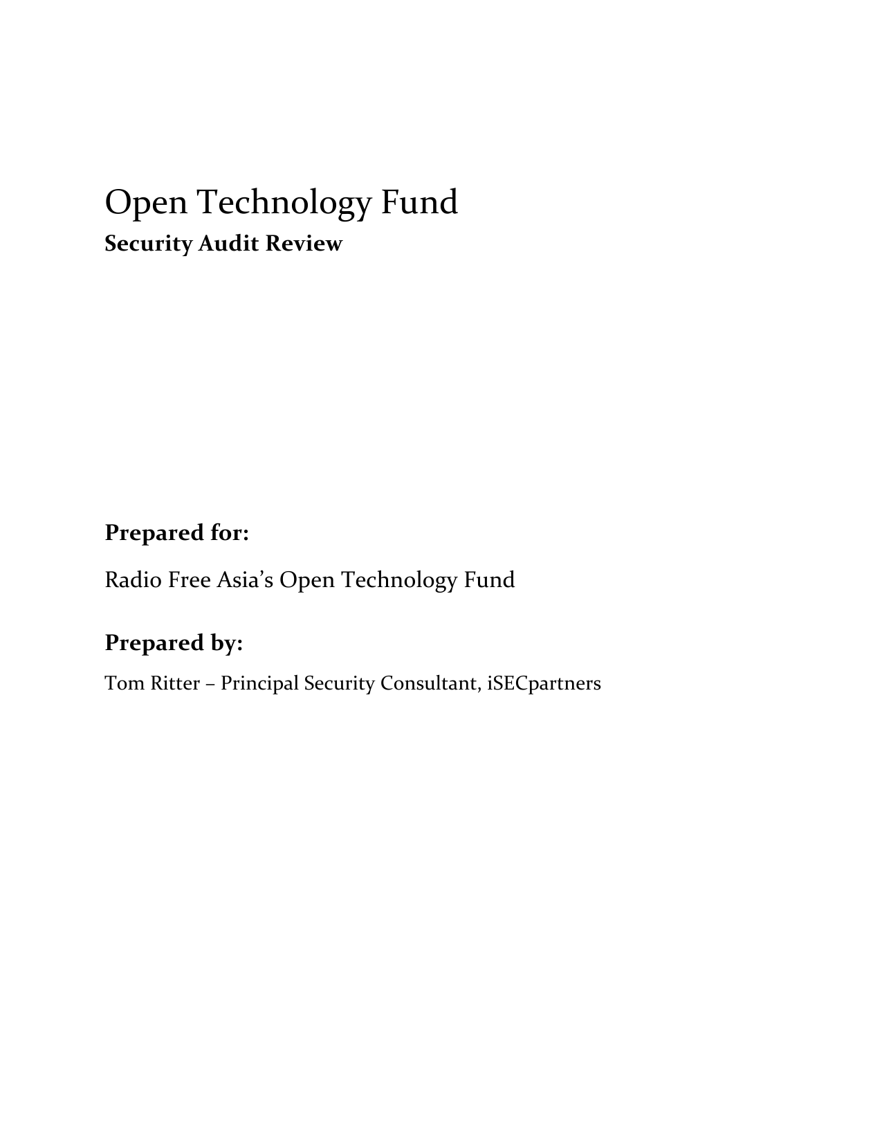 First page of the 'OTF Security Audit Review' PDF