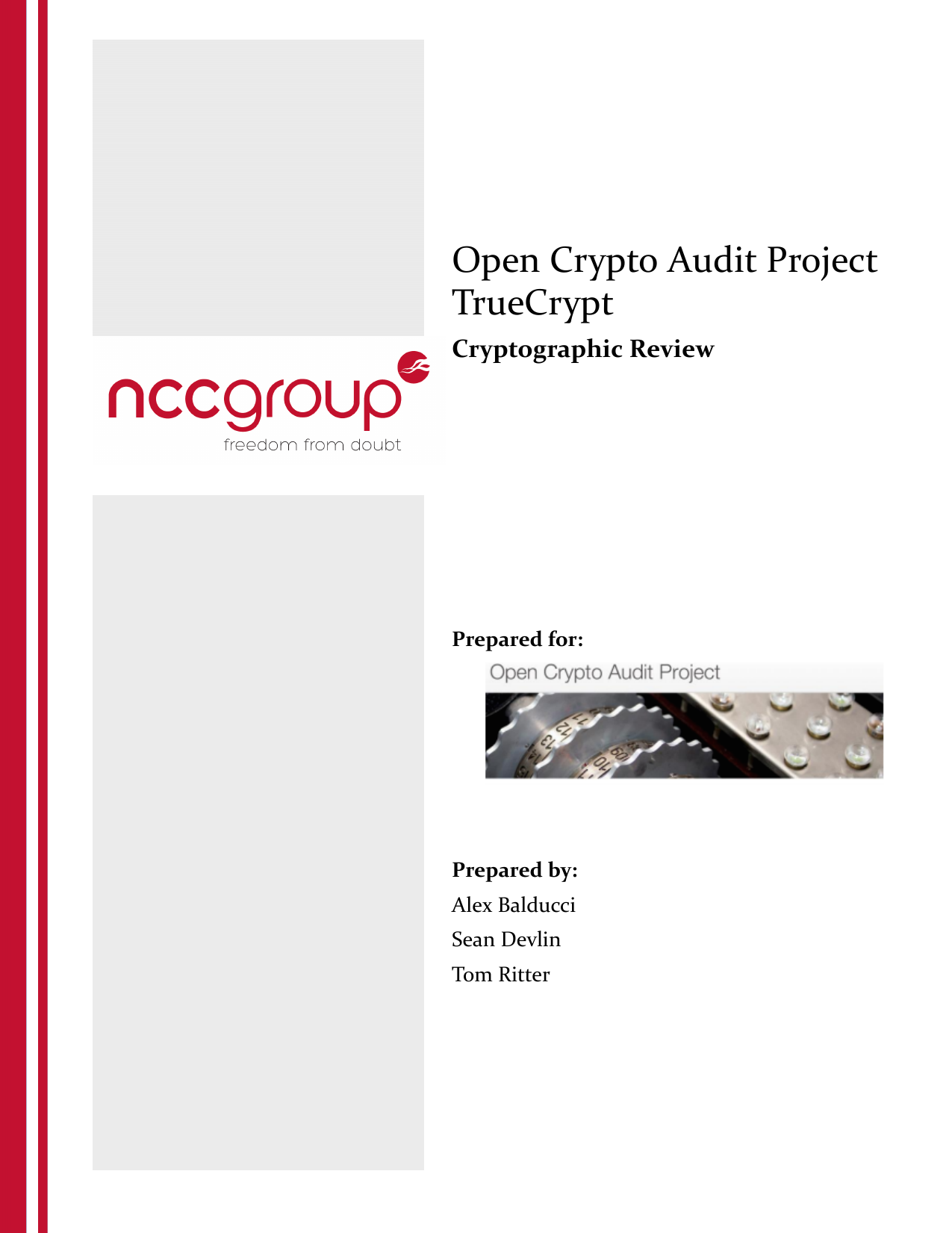 First page of the 'TrueCrypt Phase II NCC OCAP final' PDF