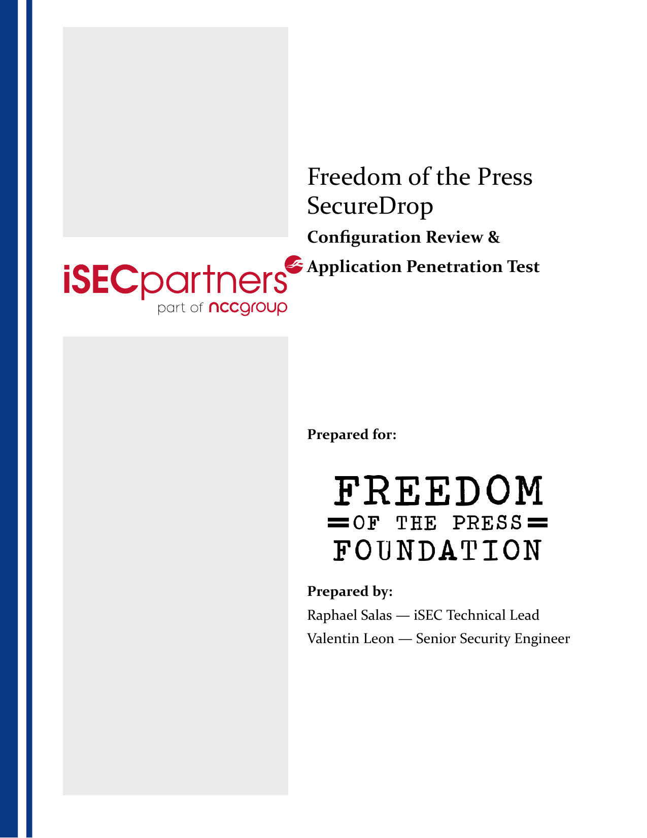 First page of the 'iSEC OTF FPF SecureDrop Deliverable v1.2' PDF