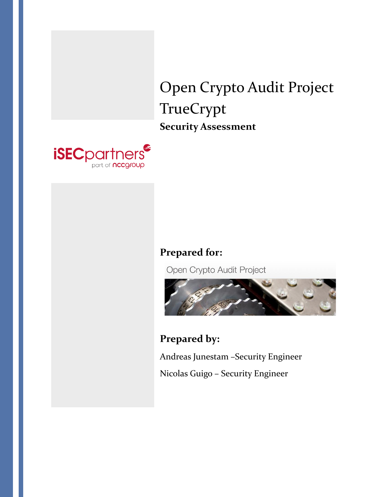 First page of the 'iSec Final Open Crypto Audit Project TrueCrypt Security Assessment' PDF